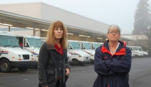 Letter carriers Pam and Gina at a USPS distribution facility near Portland, Oregon