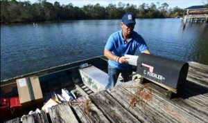 The water mail route around Magnolia Springs, Alabama serves about 180 homes.