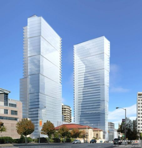 An artist rendering of one of the proposed Atlantic Centre development possibilities. at the intersection of Atlantic Street and Tresser Boulevard. Developers Thomast Rich and Louis Cappelli planned on building a Ritz-Carlton with 289 condominiums, 198 hotel rooms, and 68,000 square feet of retail space, but city zoning officials denied their application to extend the permit for the project.