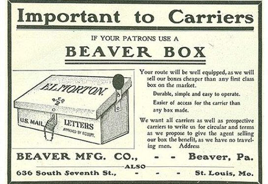 An advertisement for an early 1900s mailbox.