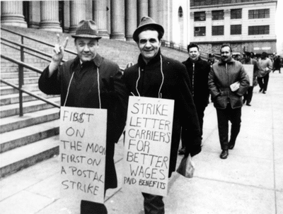 From March 18, 1970: Manhattan letter carriers walk a picket line as Post Office Department officials suspend mail service to and from New York City in the wake of the first postal strike in U.S. history. (UPI Telephoto)