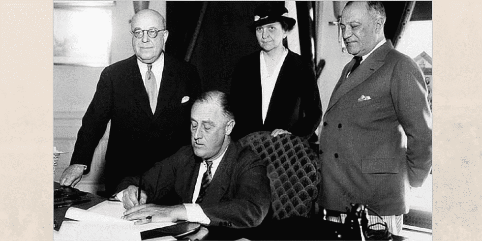 President Franklin Delano Roosevelt signed the National Labor Relations Act on July 5, 1935, which among other things established a new independent agency tasked with enforcing the Act, the National Labor Relations Board.
