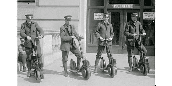 Special delivery messengers in Washington, D.C., circa 1916, model their brand-new Autoped motor scooters.