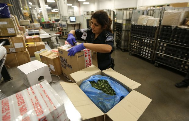 A U.S. Customs and Border Protection officer inspecting packages shipped from overseas at the Kennedy Airport International Mail Facility, where seizures of steroids from China are increasing. (John Munson/The Star-Ledger)