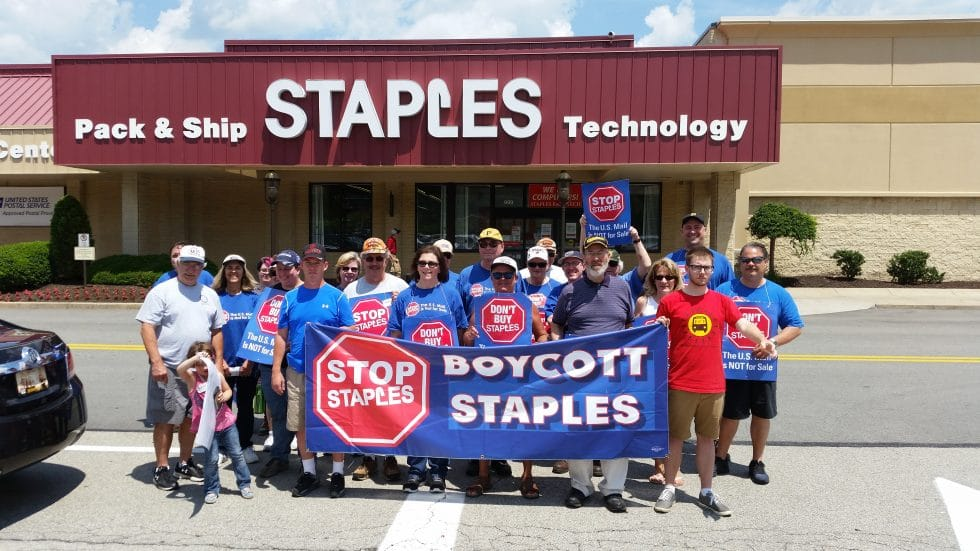 Members of the Stop Staples team kept the heat on the company outside their location in Blawnox, PA on June 26.