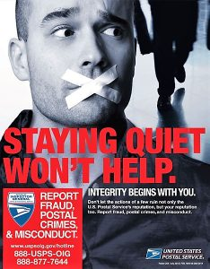 Poster 204 is part of the OIG's ongoing efforts to encourage employees to report wrongdoing within the USPS system.