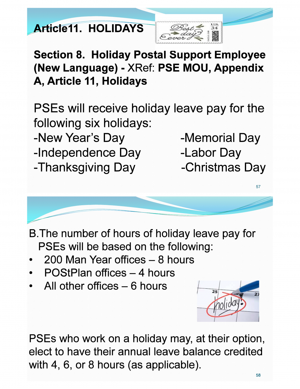PSE Holiday Leave Pay for Labor Day – 21st Century Postal Worker