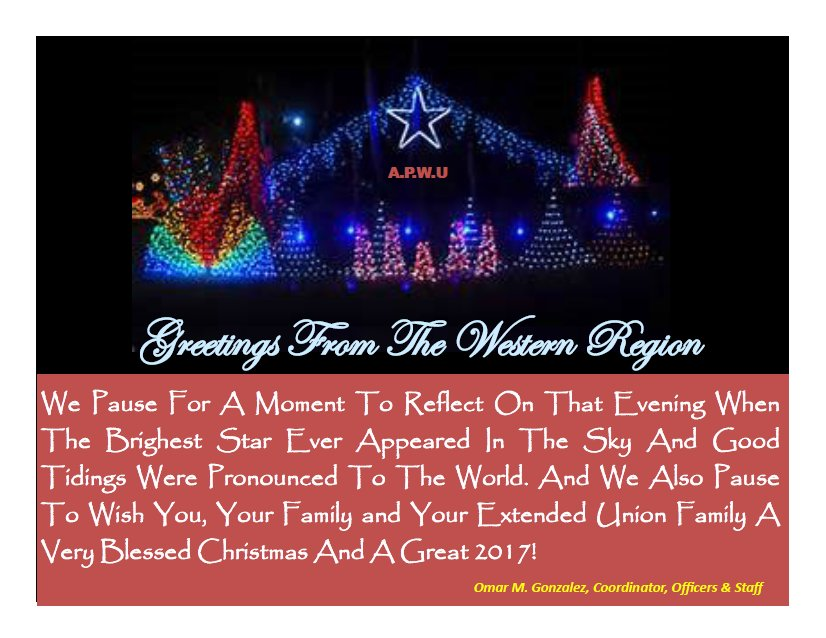 Christmas greetings from the apwu western region 21st century christmas greetings from the apwu western region 21st century postal worker m4hsunfo
