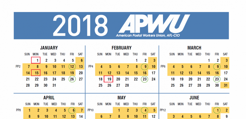 Apwu 2018 Pay And Holiday Calendar Leave Chart 21st Century