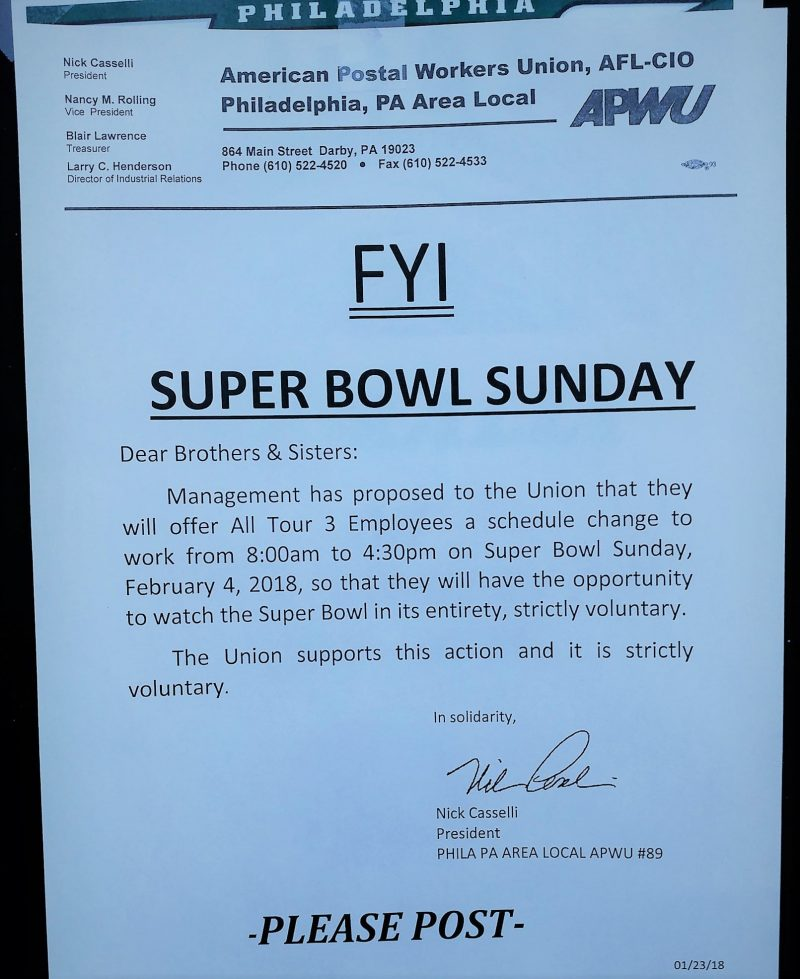 Philly Postal Mgmt Proposes Super Bowl Sunday Schedule Change 21st