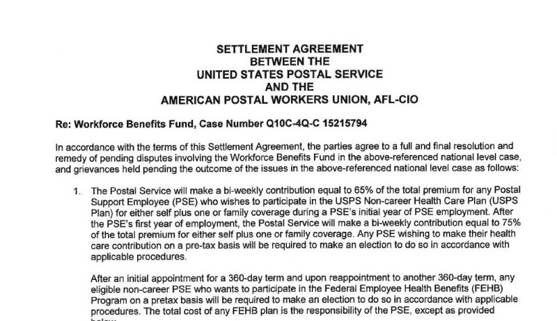 Work Force Fund Settlement Newly Signed Memo For PSEs 21st