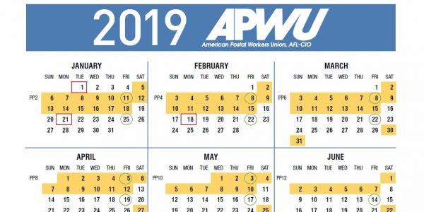image regarding Usps Form 3971 Printable known as APWU 2019 Pay back Getaway Calendar, Go away Chart 21st Century