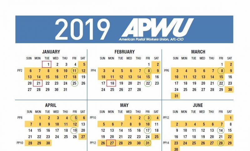 APWU 2019 Pay & Holiday Calendar, Leave Chart – 21st ...