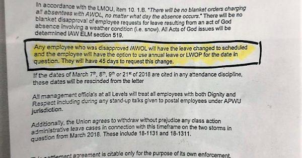 "USPS settles Philadelphia APWU ""Act of God"" grievances"