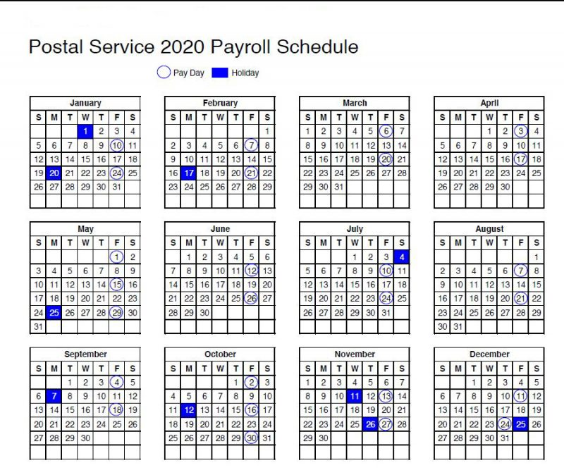 USPS: Calendar Shows 2020 Payroll Schedule